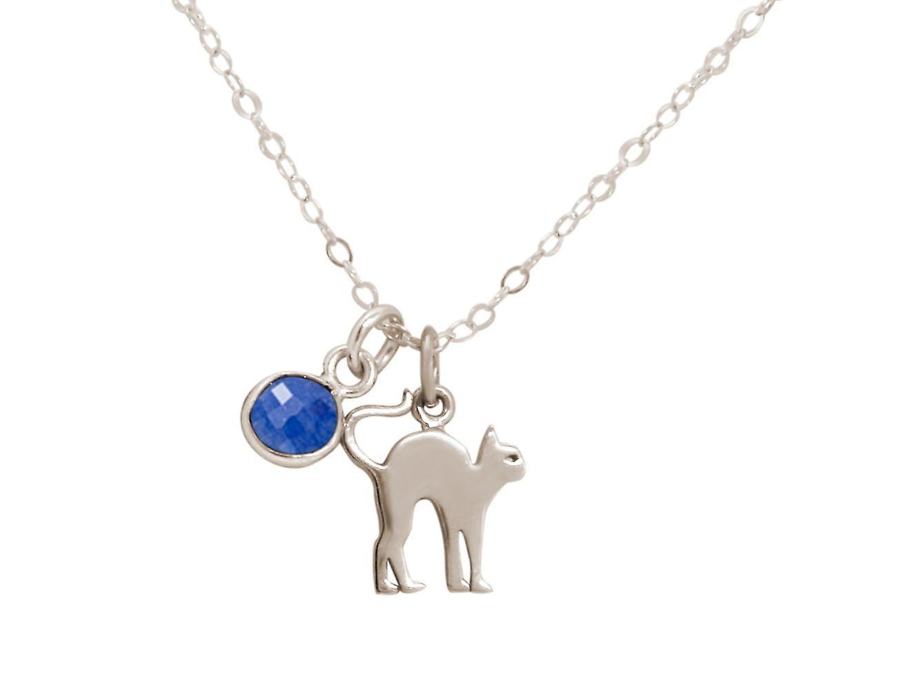 GEMSHINE chat pendentif avec Pierre de saphir bleu. Argent 925 massif, plaqué or ou collier de 45cm. Cadeau pour le propriétaire de l'animal, maîtresse - fabriquée en Espagne