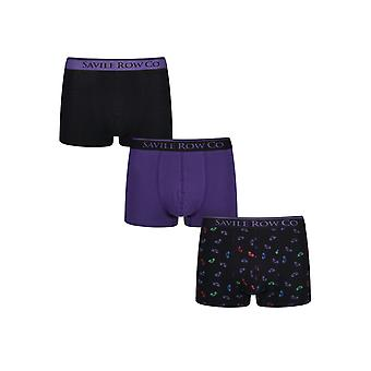 Designer 3 Pack Gift Set Mens Savile Row Trunks Clayton Boxers Underwear