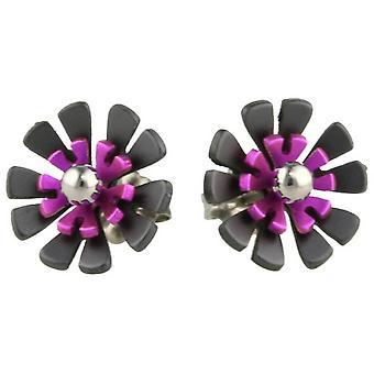 TI2 titane noir dos dix pétales Stud boucles d'oreilles fleur - rose bonbon