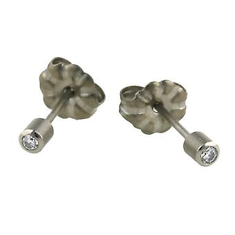 TI2 titanio piccolo diamante incastonato Stud Earrings - Silver