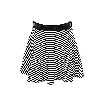 Ladies Black White Monochrome Stripe Belted Flare Mini Skater Short Skirt