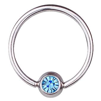 BCR Piercing, anillo de cierre de bola, espesor 1,6 mm | Diámetro 8-16 mm | Piedra aguamarina