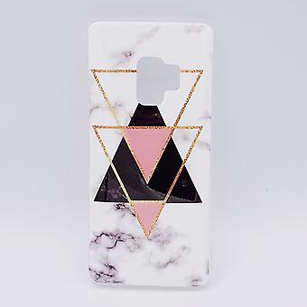 Samsung S9 Plus Beutel-Schwarz Marmor Dreiecke & rosa