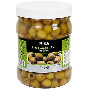 Land Auswahl entsteinte schwarze Oliven in Salzlake