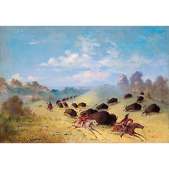Comanche indios persiguiendo búfalos, George Catlin, 40x60cm con bandeja