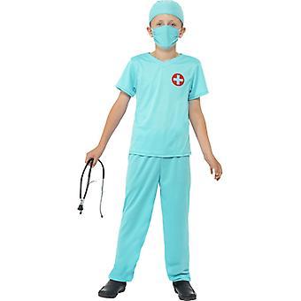 Máscara del cirujano traje azul pantalones top Hat y estetoscopio