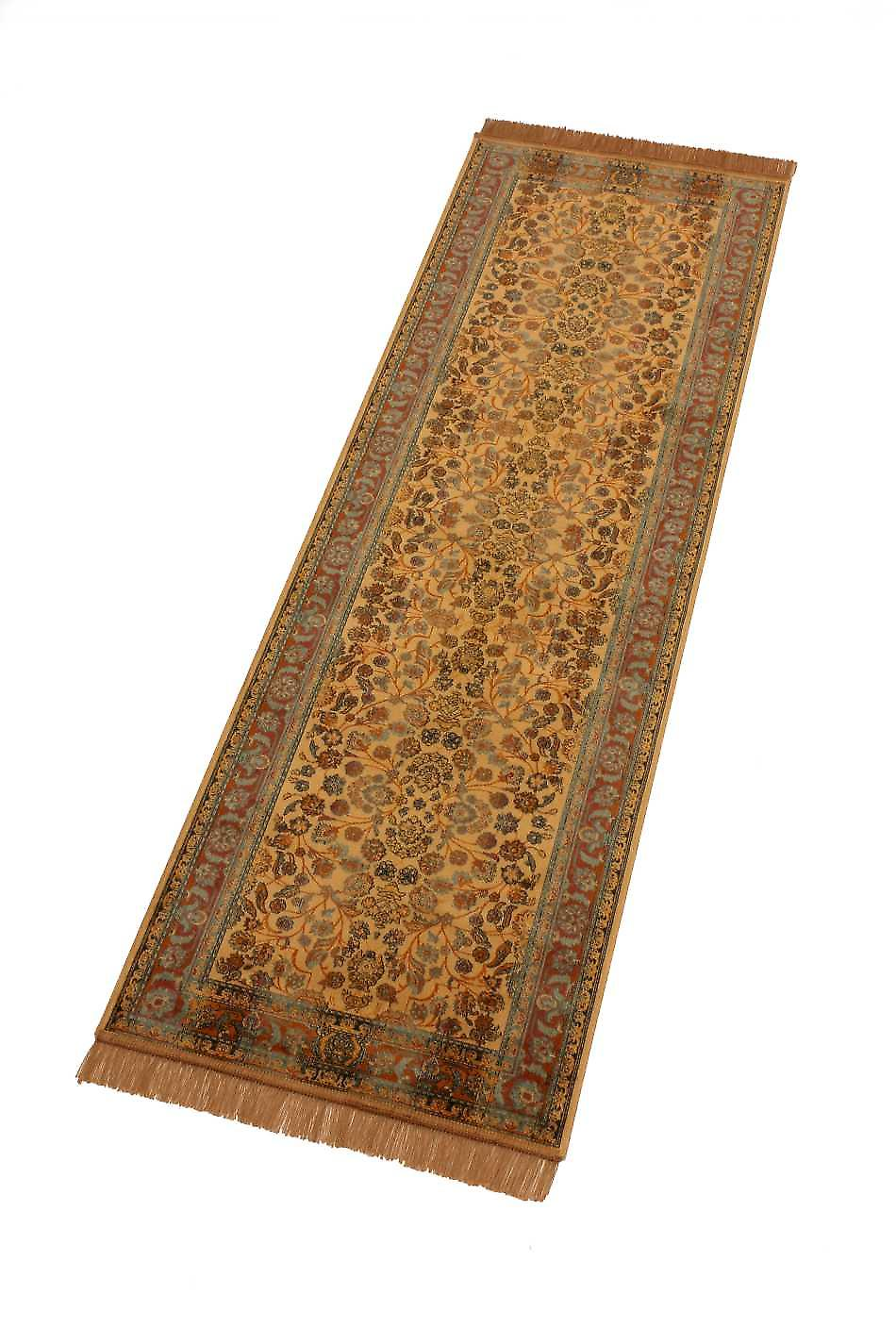 Gold Afghan Ziegler Artificial Faux Silk Effect Hall Runner Rug 5663/41