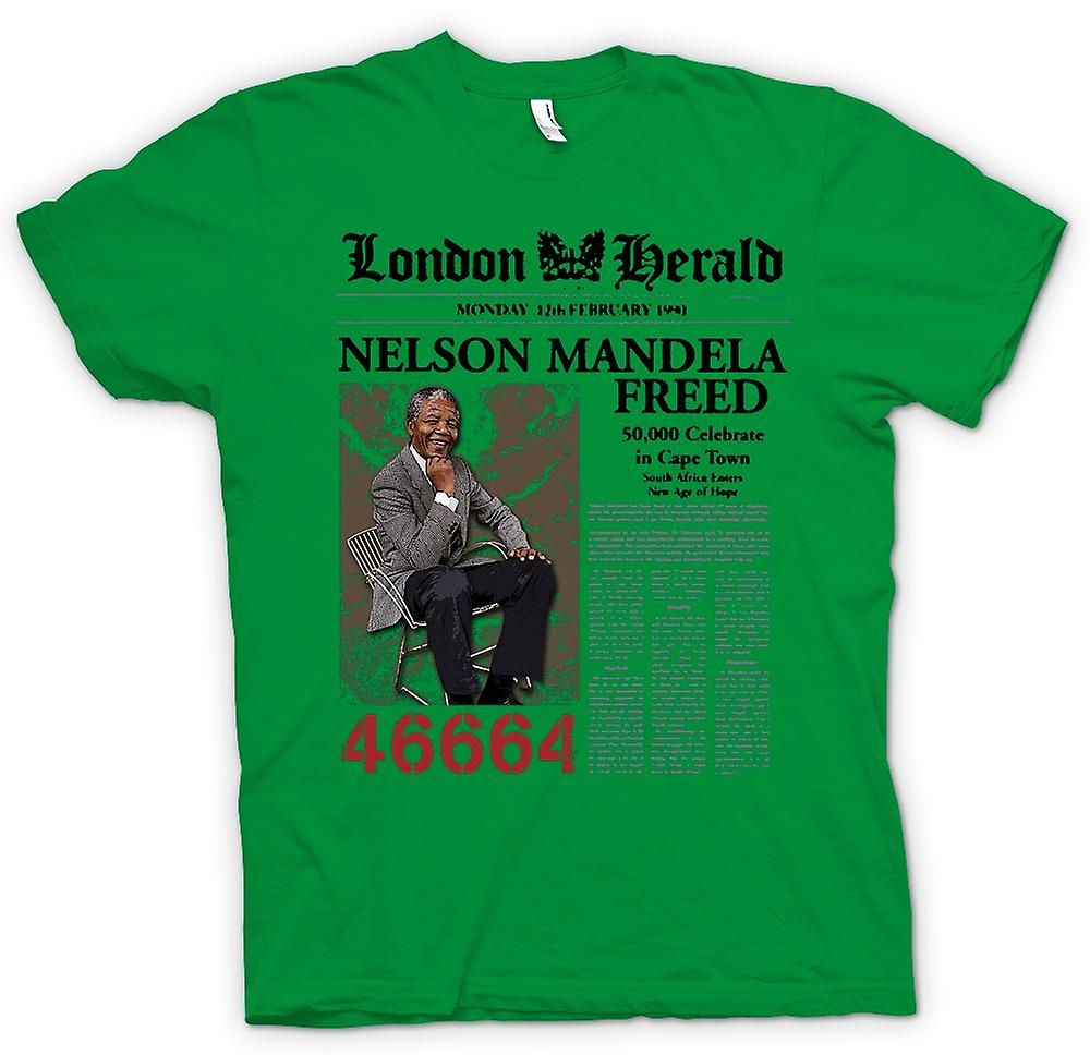 Mens T-shirt - Nelson Mandela Freed 46664 - ANC - Freedom