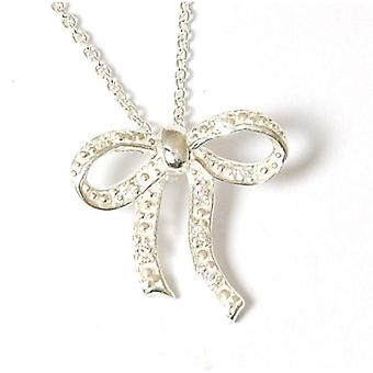 Jo For Girls Sterling Silver Clear CZ Bow Pendant Necklace 14