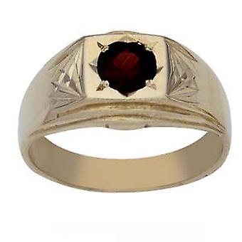 9ct guld torget diamond cut axlar med Garnet klänning Ring storlek R