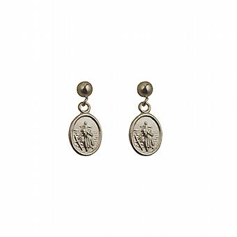 Silver 8x6mm oval St Christopher Dropper Earrings