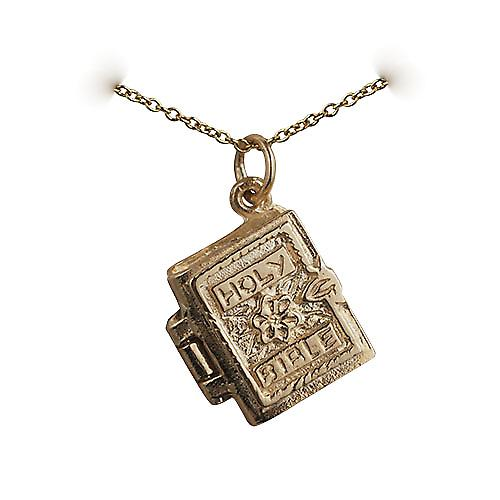 9ct Gold 15x14mm The Holy Bible Pendant with a cable Chain 16 inches Only Suitable for Children