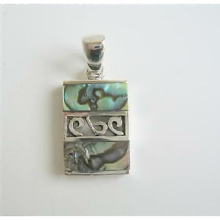 Designed Sterling Silver Square Abalone Shell Pendant Weight 6.1 gm