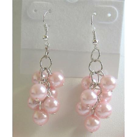 Pink Synthetic Pearls Earrings Simulated Pearls Grapes Drop Earrings