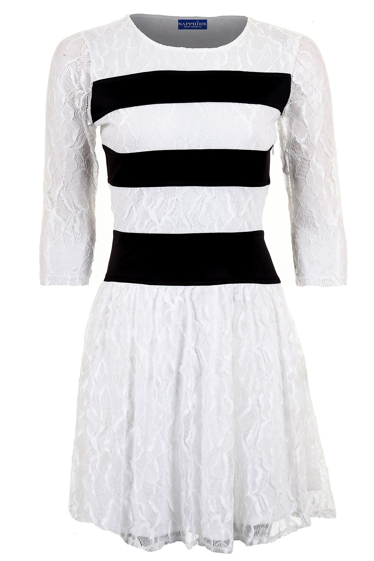Ladies 3/4 Sleeve Lace Lined Stripe Contrast Flare Skater Women's Dress