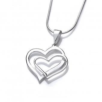 Plata francesa Cavendish entrelazadas corazones colgante con cadena de plata