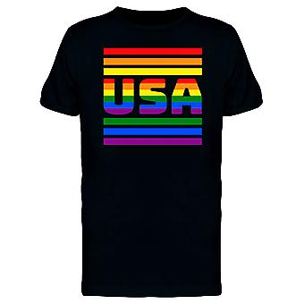 Arco-íris listrado t-shirt EUA orgulho masculino