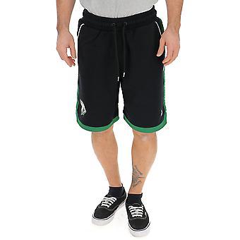 Shorts de poliéster Marcelo Burlon preto/verde