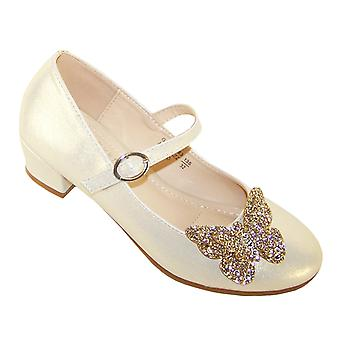 Girls pale gold heeled bridesmaid shoes with glitter butterfly