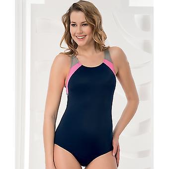 Aqua Perla - Womens  - Performance -navy Blue- One Piece Swimwear