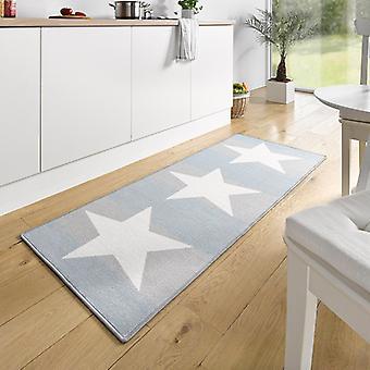 Design suede kitchen runner star white blue 67 x 180 cm | 102373