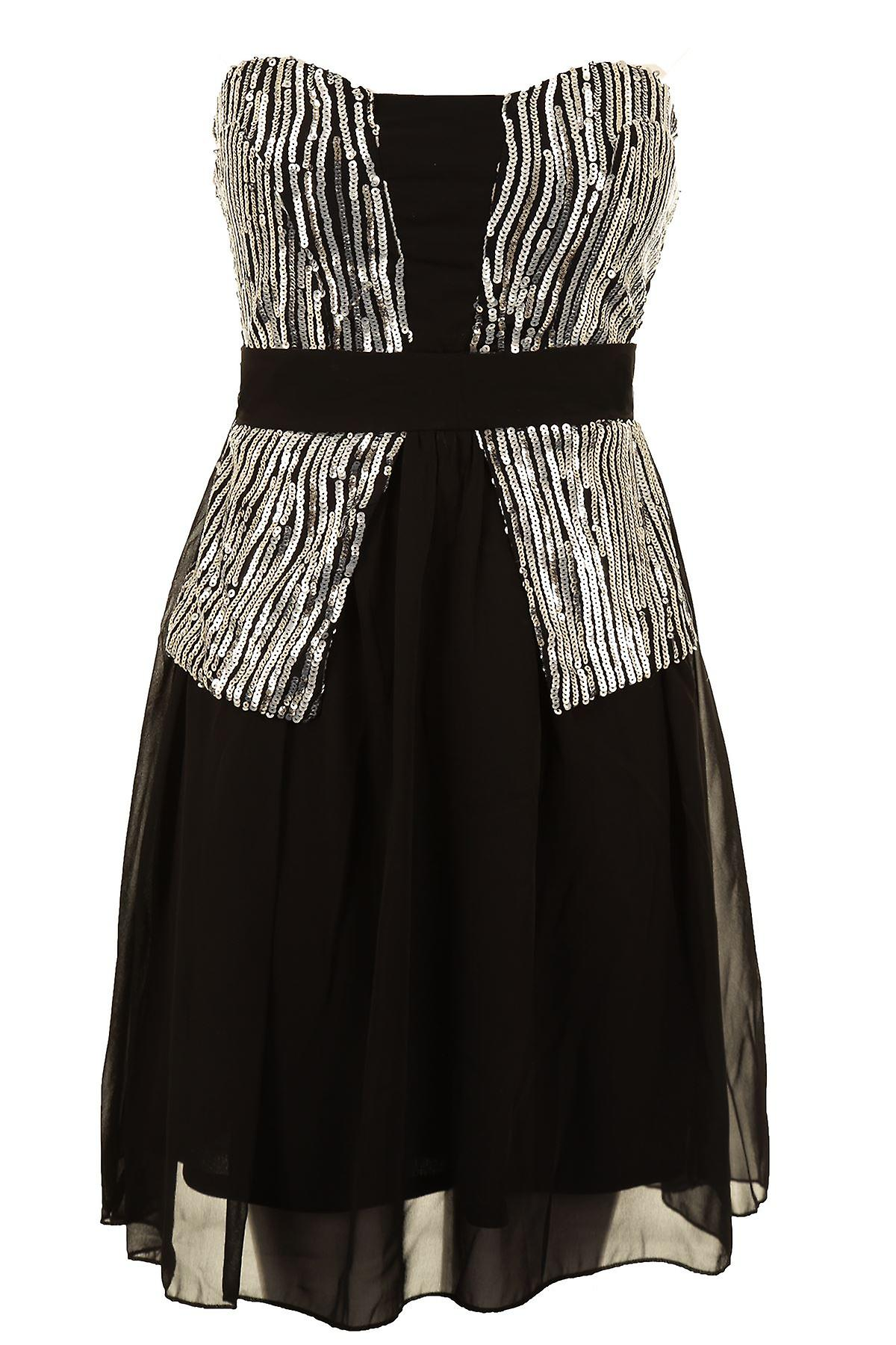 Ladies Gold Sliver Sequin Chiffon Lined Bustier Stretch Back Women's Dress