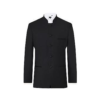 Dobell Mens Black Tuxedo Veste Regular Fit Mandarin Collar