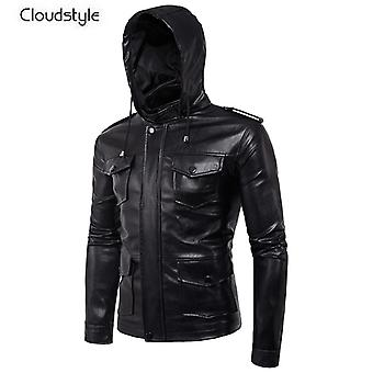 Allthemen Men's Leather Jacket Multi-Pockets New Style Leather Coat