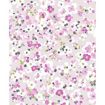 Blossom Floral Wallpaper Heather Lime Mini Flowers Watercolour Paste Wall Holden