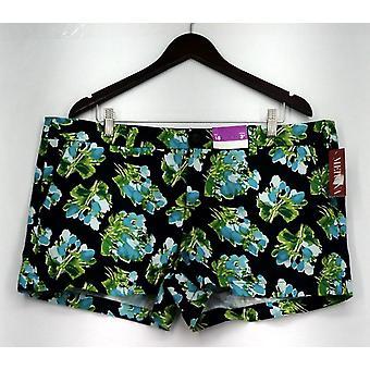 Merona shorts zip front gedrukte Floral casual shorts zwart/groen Womens