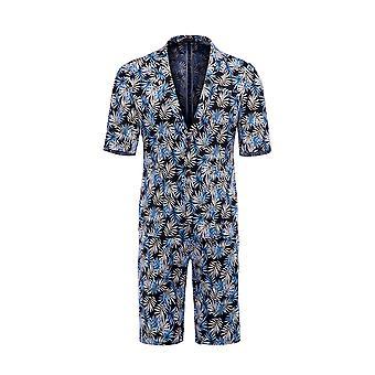 Allthemen mannen ' s korte mouw suits 2-delige Palm blad afgedrukt korte blazer & korte broek