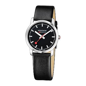 Mondaine Simply Elegant Black Leather Strap Ladies' Watch A400.30351.14SBB 36mm