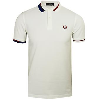 Fred perry men's abstract collar white polo shirt