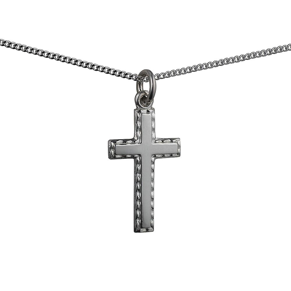 Silver 25x25mm plain with embossed border Cross with a curb Chain 24 inches