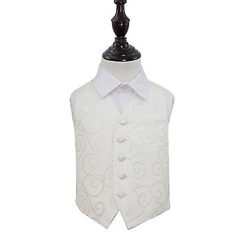 Boy's Ivory Scroll Patterned Wedding Waistcoat