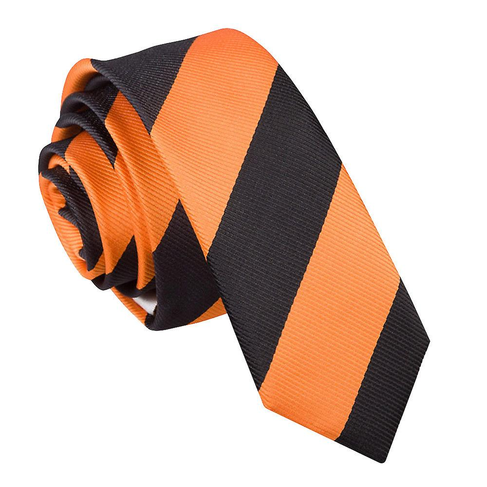 Striped Orange & Black Skinny Tie