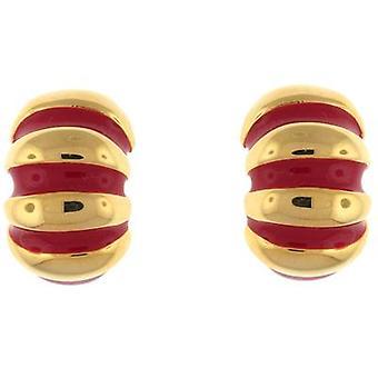 Kenneth Jay Lane Red Enamel & Gold Plated Stripe Semi Hoop Clip On Earrings