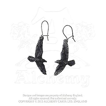 Alchemy Gothic Black Raven Pair of Earrings