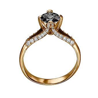 14K Rose Gold 1,25 CTW Black Diamond Ring mit Diamanten Split Schaft einzigartige Designer