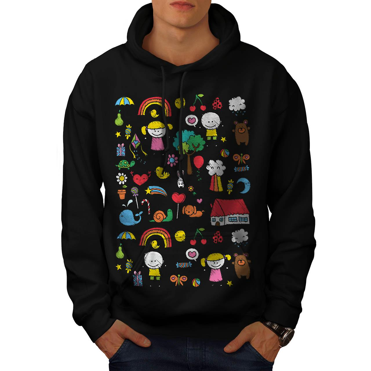 Cute Little Kids Dream Love Life Men Black Hoodie | Wellcoda