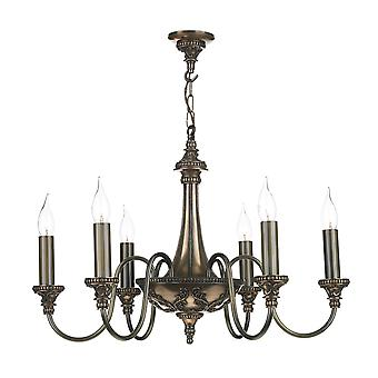 Bailey Traditional 6 Light Pendant In A Bronze Pendant
