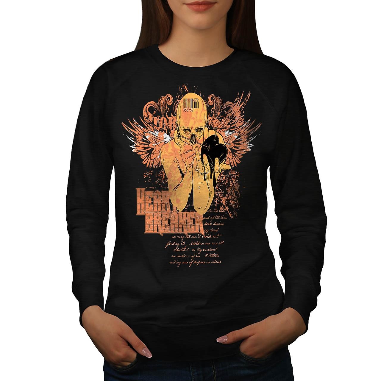 Love Heart Breaker Evil Lust Women Black Sweatshirt | Wellcoda