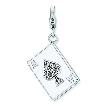 Sterling Silver Enameled 3-d Ace With Lobster Clasp Charm - 2.7 Grams