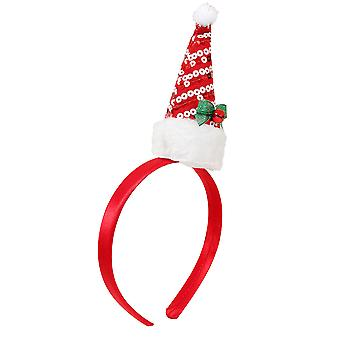Red & White Sequin Father Christmas Hat Headband