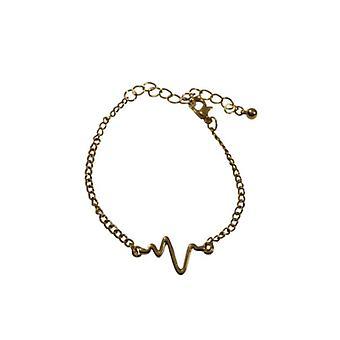 Minimalistische statement armband met hartslag goudkleurig