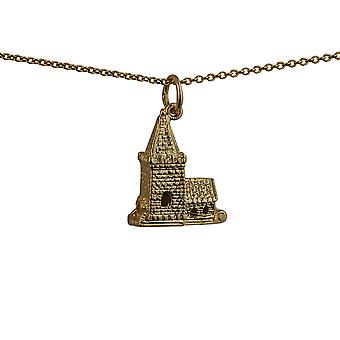 9ct Gold 19x15mm moveable Charm a Church inside a tiny Bride and Groom with a curb Chain 20 inches