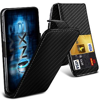 ONX3 (Carbon Fibre) Samsung Galaxy Xcover 4 Universal Luxury Style Folding PU Leather Spring Clamp Holder Top Flip Case with 2 Cards Slot, Slide Up and Down Camera