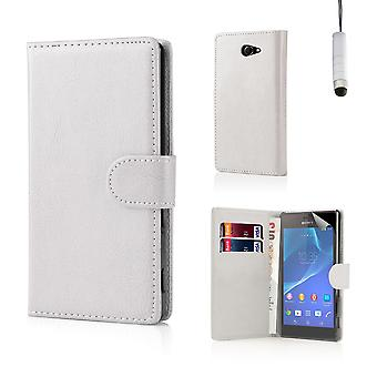 Book PU leather case cover for Sony Xperia M2 + stylus - White