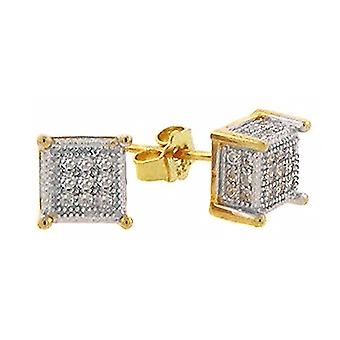 925 MICRO PAVE earrings - CHICAGO 6 mm gold