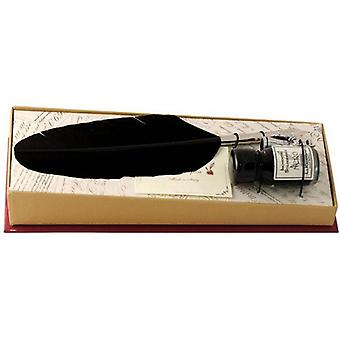 Coles Calligraphy Small Feather Quill and Ink Set - Black